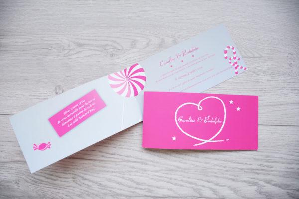 faire part mariage champêtre bonbon rose personnalisé impression direct – imprimeur vendée