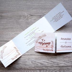 faire part mariage chic bois personnalisé impression direct – imprimeur vendée