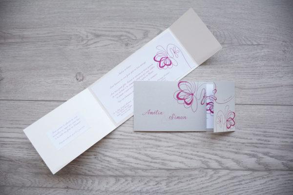 faire part mariage chic fleur rose personnalisé impression direct – imprimeur vendée
