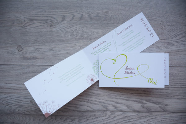faire part mariage champêtre coeur vert personnalisé impression direct – imprimeur vendée