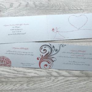 faire part mariage chic argenté coeur rouge personnalisé impression direct – imprimeur vendée
