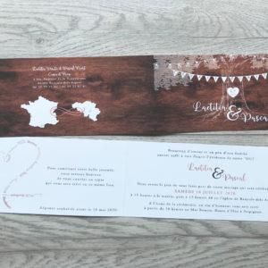 faire part mariage bois marron personnalisé impression direct – imprimeur vendée