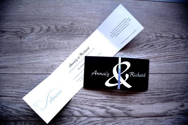 faire part mariage chic noir et bleu personnalisé impression direct – imprimeur vendée