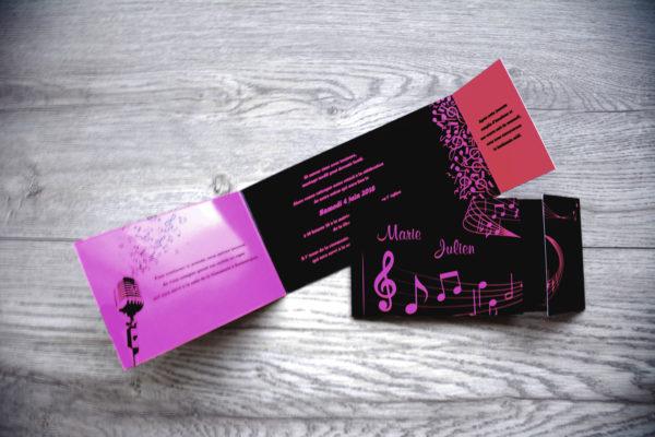 faire part mariage champêtre note de musique personnalisé impression direct – imprimeur vendée