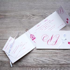 faire part mariage chic ruban oiseau rose personnalisé impression direct – imprimeur vendée