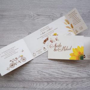 faire part mariage champêtre tournesol personnalisé impression direct – imprimeur vendée