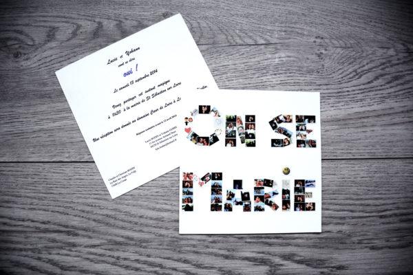 faire part mariage champêtre lettres photos personnalisé impression direct – imprimeur vendée