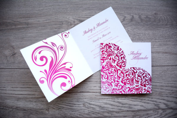 faire part mariage chic cœur rose personnalisé impression direct – imprimeur vendée 1