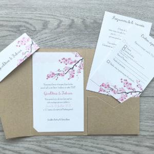 Faire part pochette kraft arbre avec branche fleurs rose
